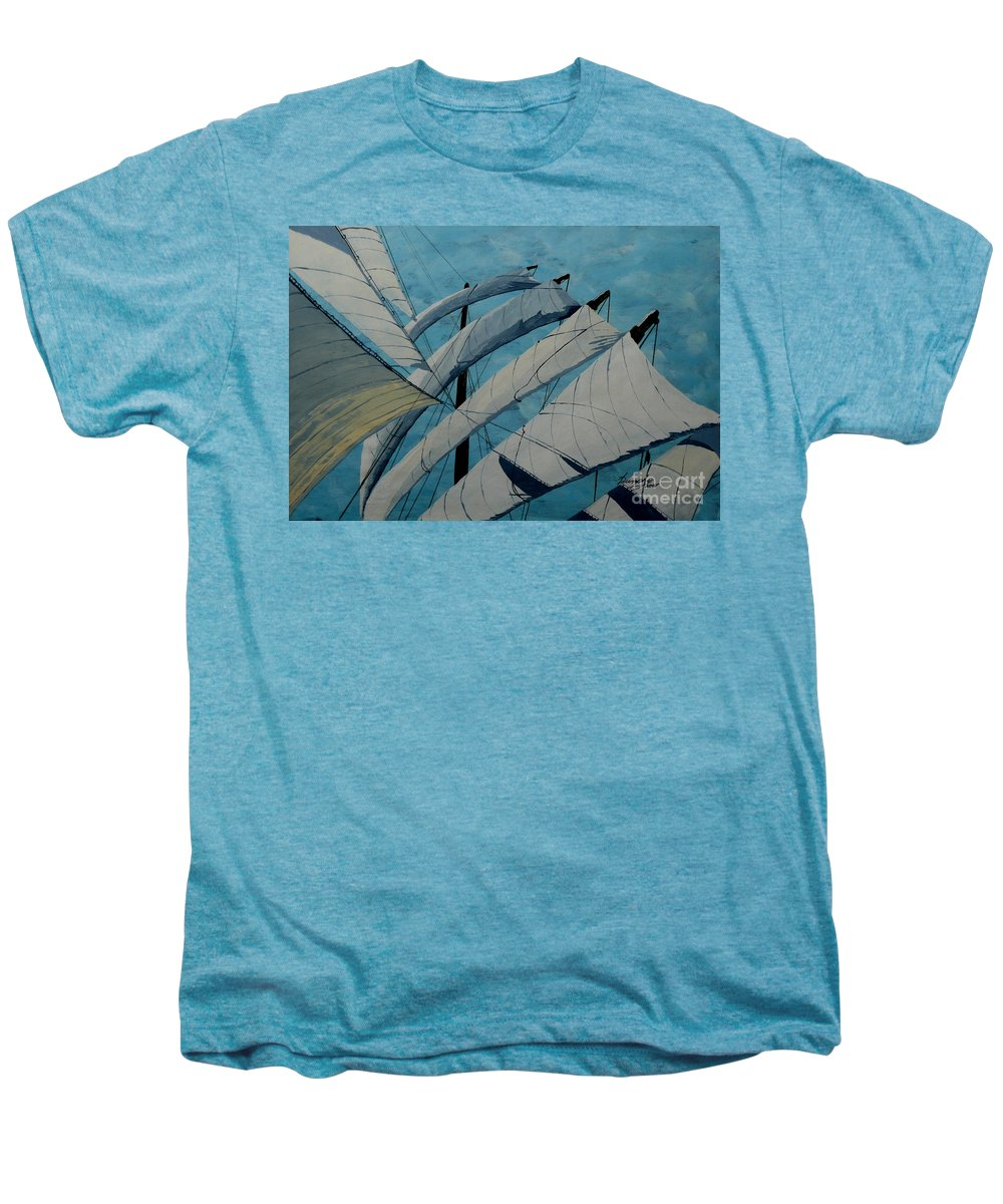 Sails Men's Premium T-Shirt featuring the painting The Tower Of Power by Anthony Dunphy