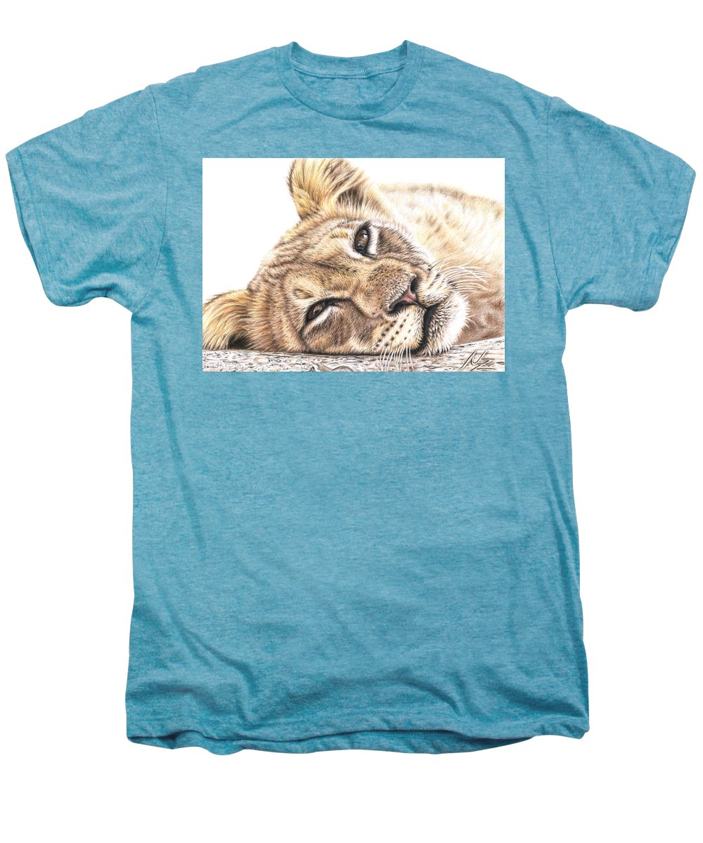 Lion Men's Premium T-Shirt featuring the drawing Tired Young Lion by Nicole Zeug