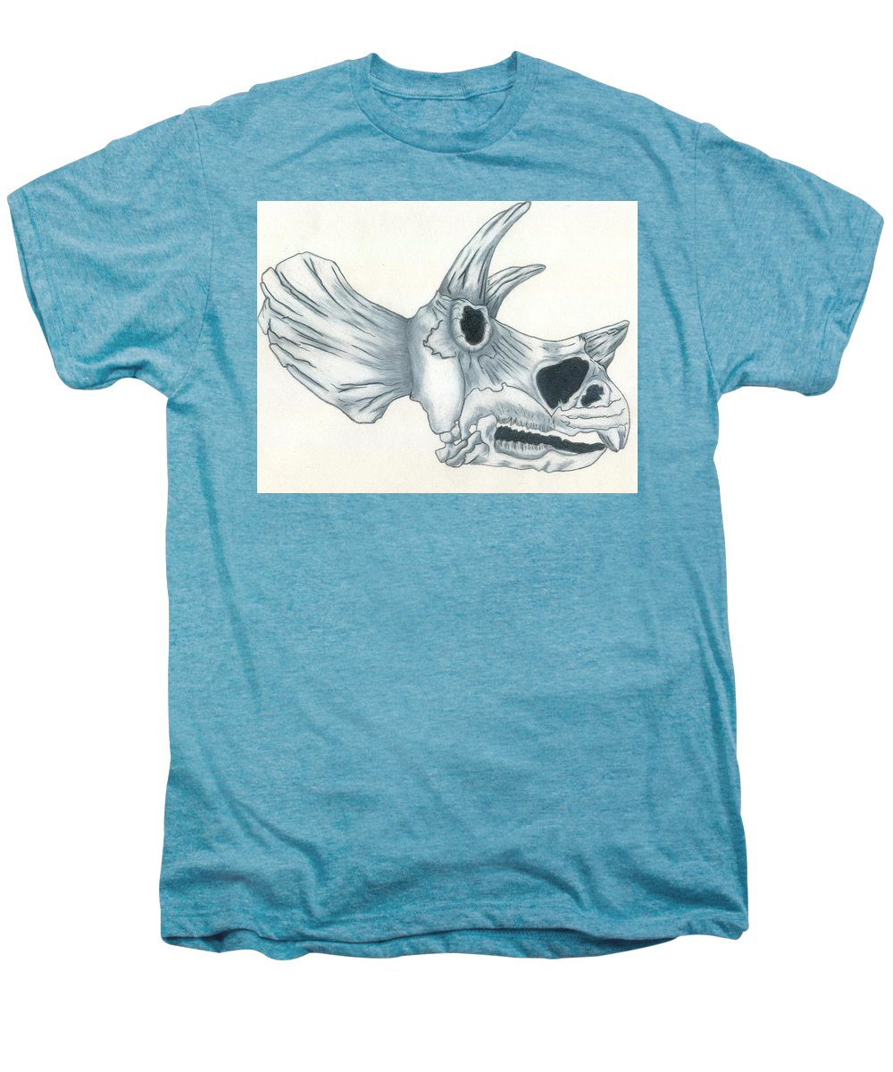 Dinosaur Men's Premium T-Shirt featuring the drawing Tricerotops Skull by Micah Guenther