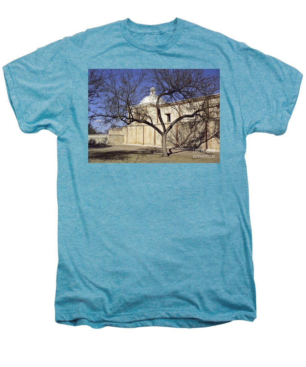 Mission Men's Premium T-Shirt featuring the photograph Tumacacori With Tree by Kathy McClure