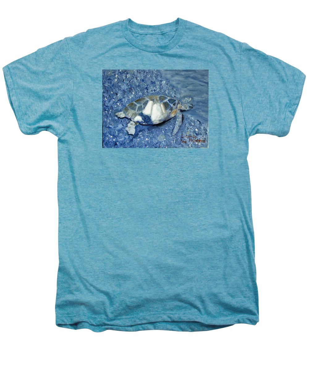 Turtle Men's Premium T-Shirt featuring the painting Turtle On Black Sand Beach by Laurie Morgan