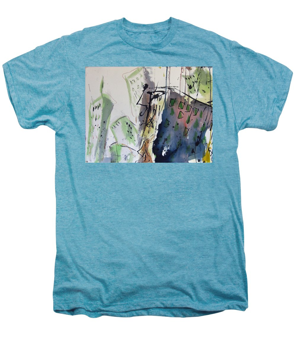 City Men's Premium T-Shirt featuring the painting Uptown by Robert Joyner