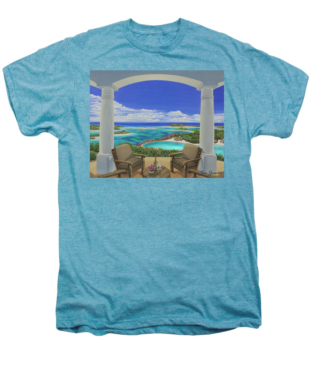 Ocean Men's Premium T-Shirt featuring the painting Vacation View by Jane Girardot