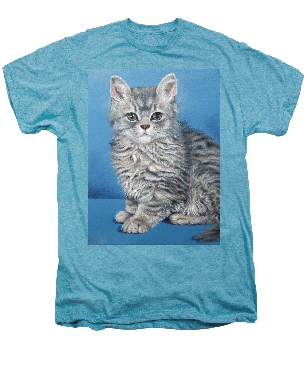 Cat Men's Premium T-Shirt featuring the drawing Velvet Kitten by Nicole Zeug