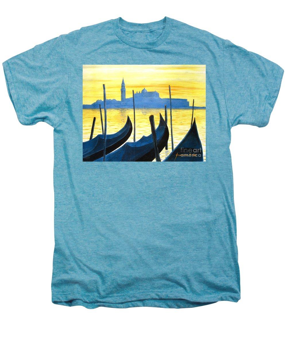 Venice Men's Premium T-Shirt featuring the painting Venezia Venice Italy by Jerome Stumphauzer