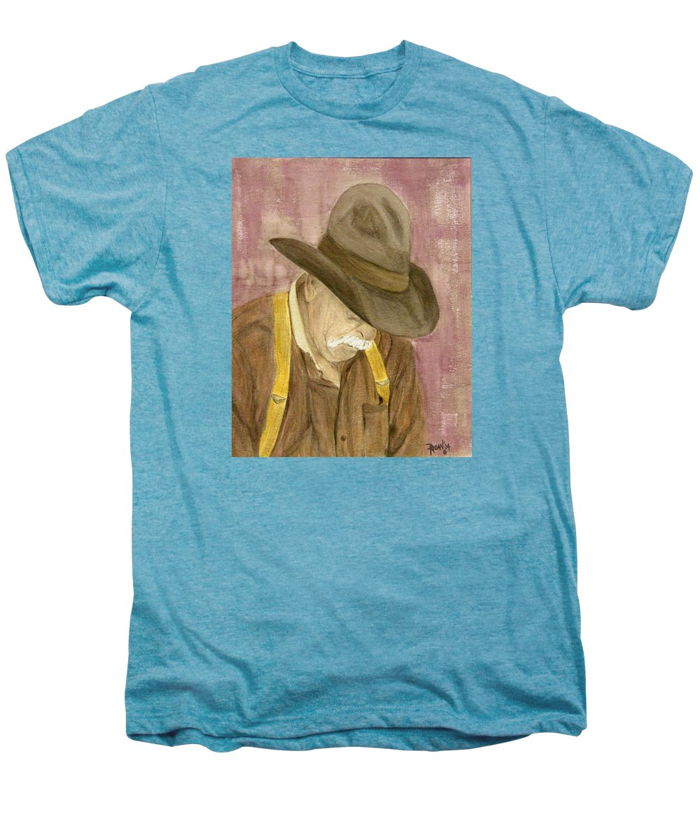 Western Men's Premium T-Shirt featuring the painting Walter by Regan J Smith