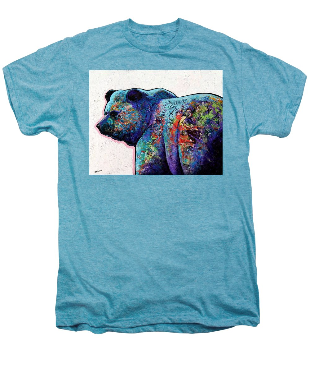 Wildlife Men's Premium T-Shirt featuring the painting Watchful Eyes - Grizzly Bear by Joe Triano