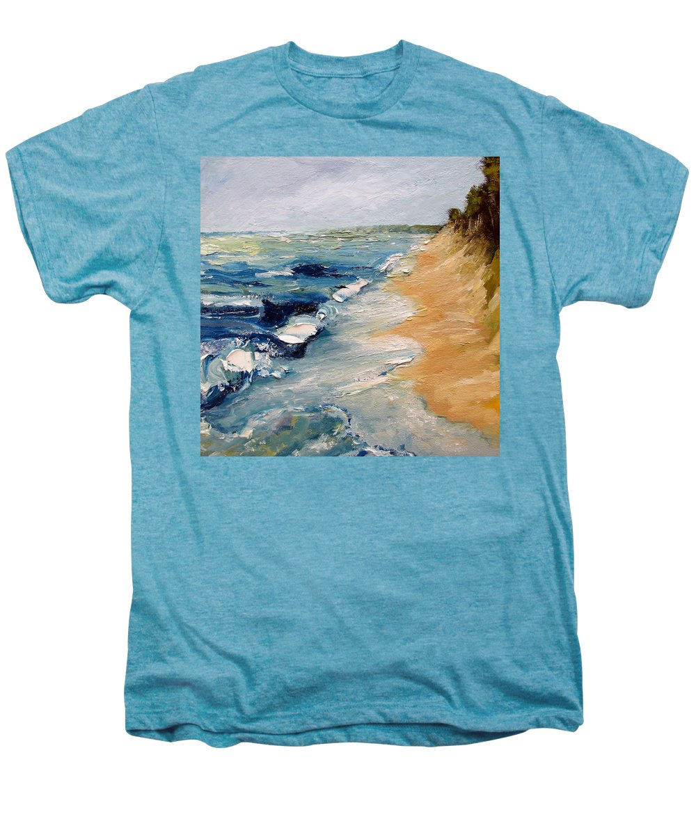 Whitecaps Men's Premium T-Shirt featuring the painting Whitecaps On Lake Michigan 3.0 by Michelle Calkins
