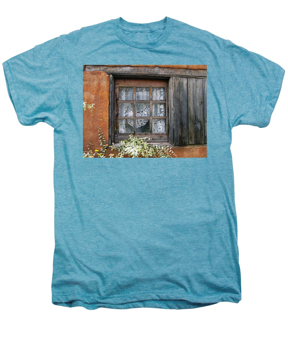 Window Men's Premium T-Shirt featuring the photograph Window At Old Santa Fe by Kurt Van Wagner
