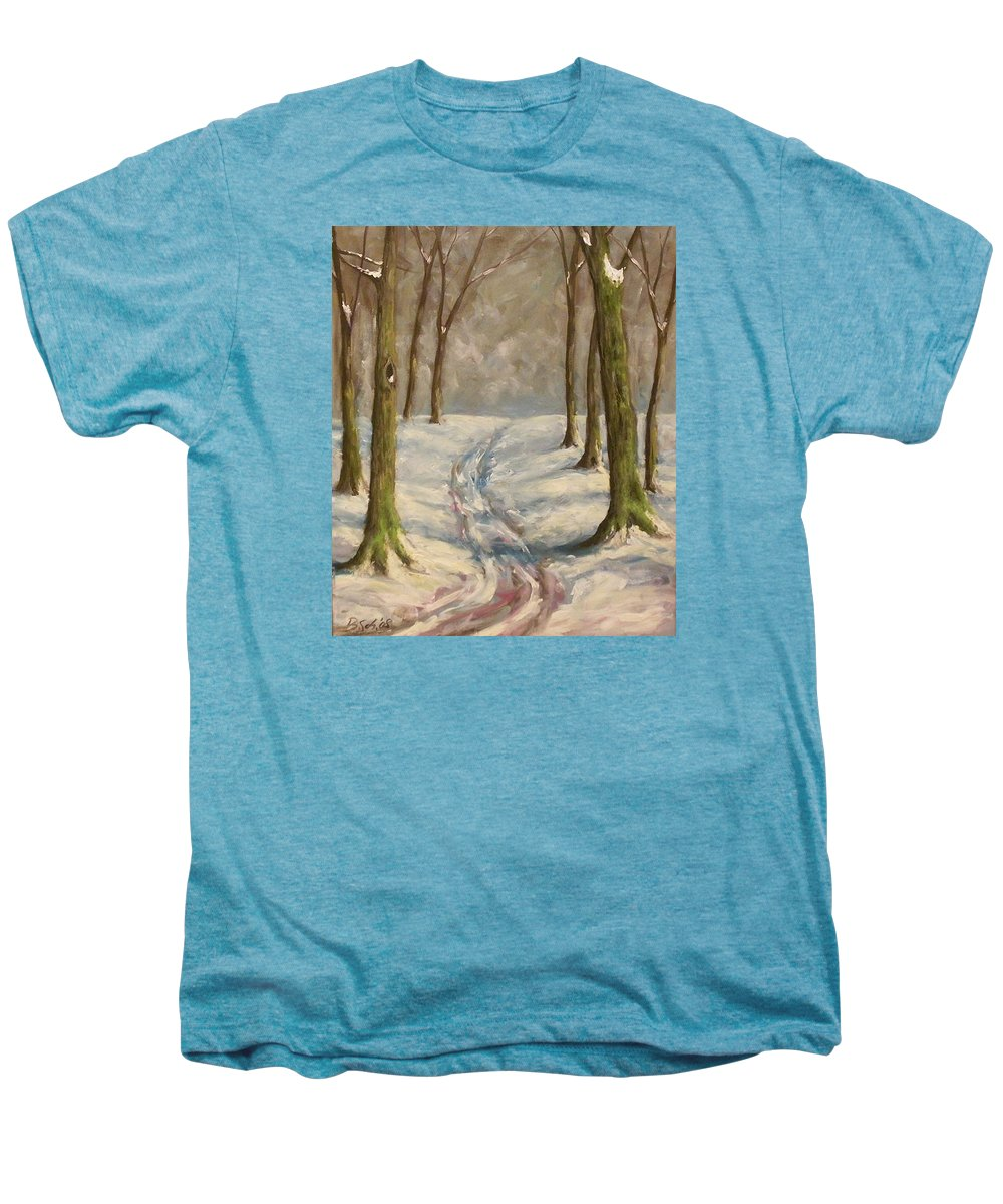 Winter Men's Premium T-Shirt featuring the painting Winter Day by Birgit Schnapp
