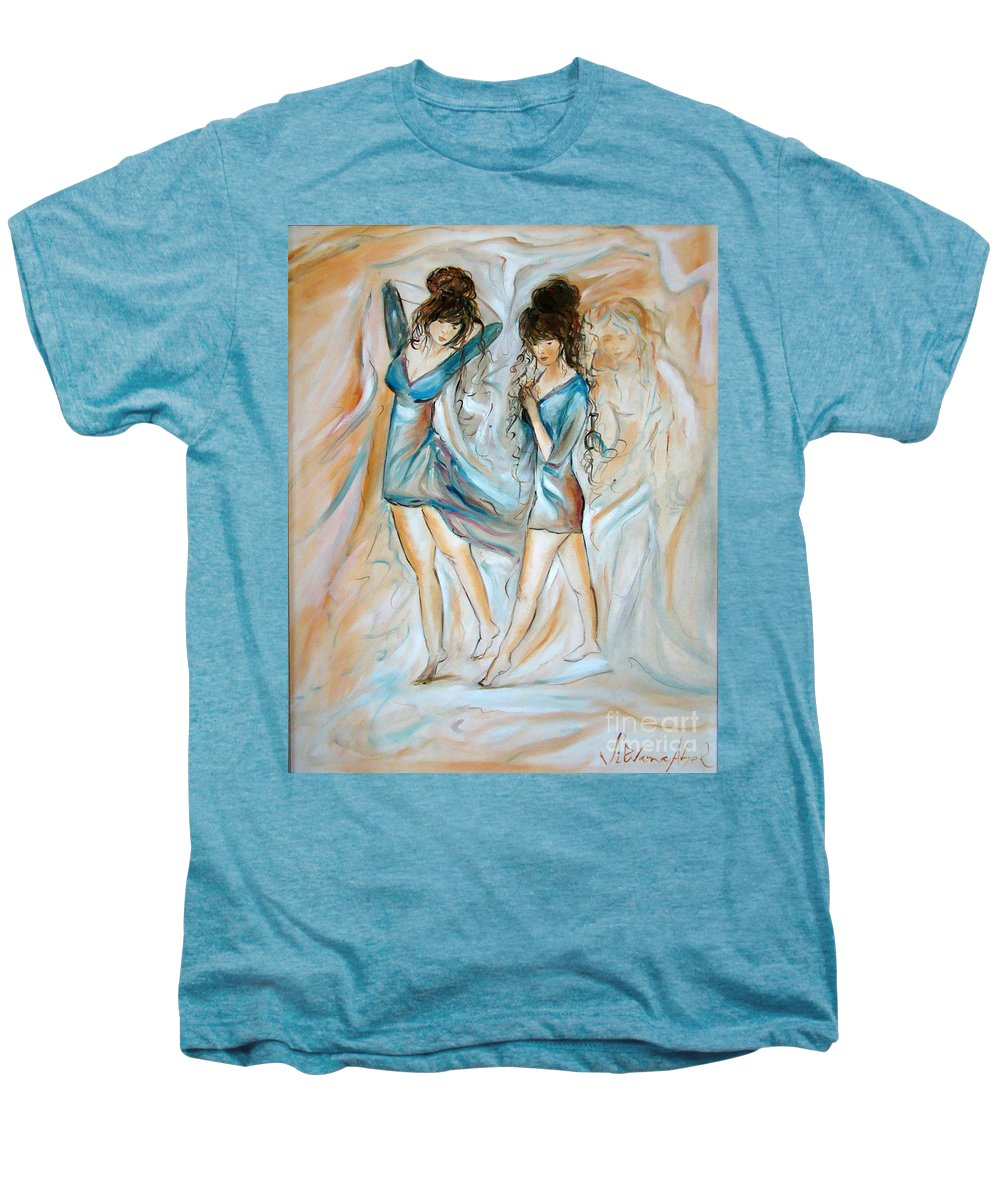 Contemporary Art Men's Premium T-Shirt featuring the painting Wondering by Silvana Abel