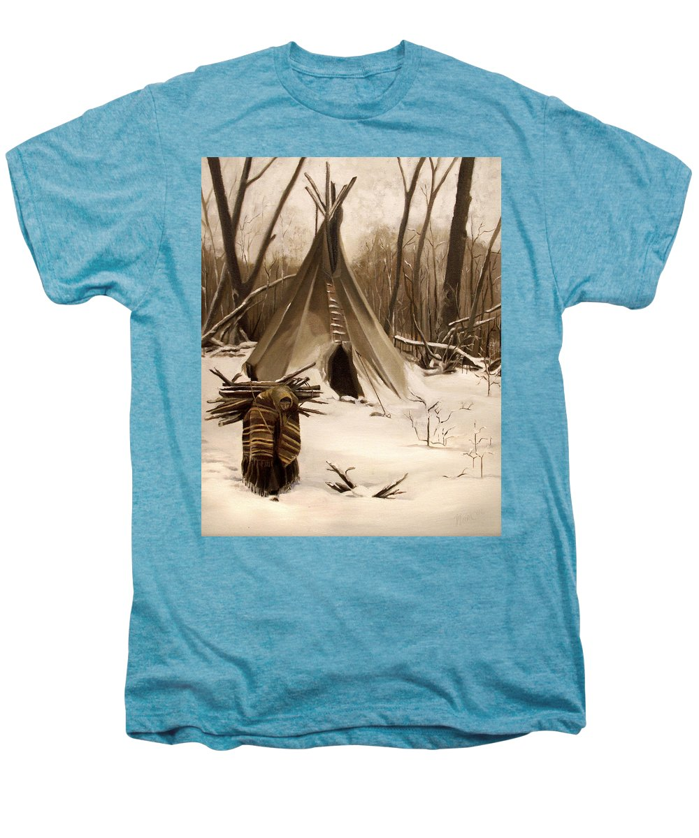 Native American Men's Premium T-Shirt featuring the painting Wood Gatherer by Nancy Griswold