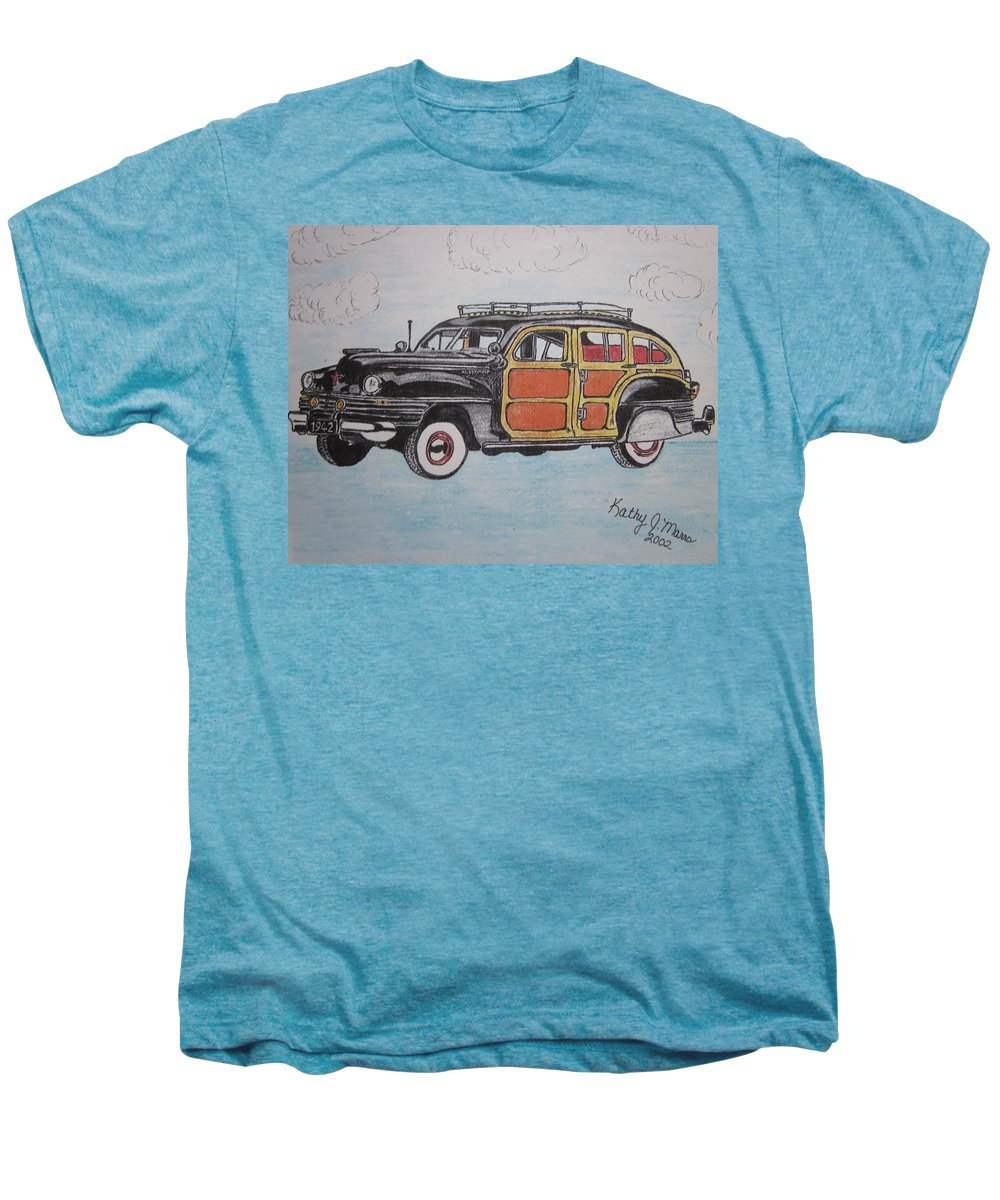 Woodie Men's Premium T-Shirt featuring the painting Woodie Station Wagon by Kathy Marrs Chandler