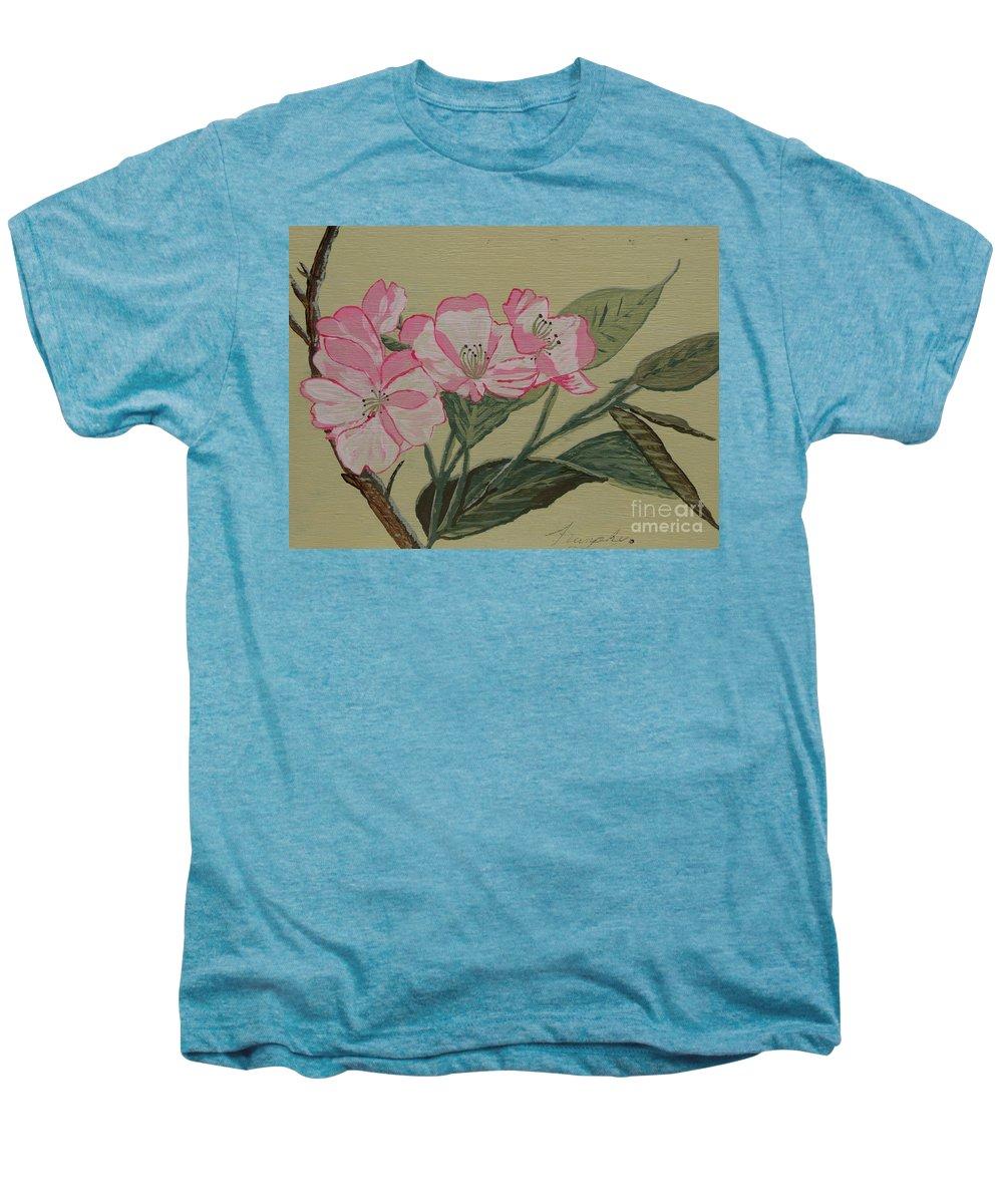 Yamazakura Men's Premium T-Shirt featuring the painting Yamazakura Or Cherry Blossom by Anthony Dunphy