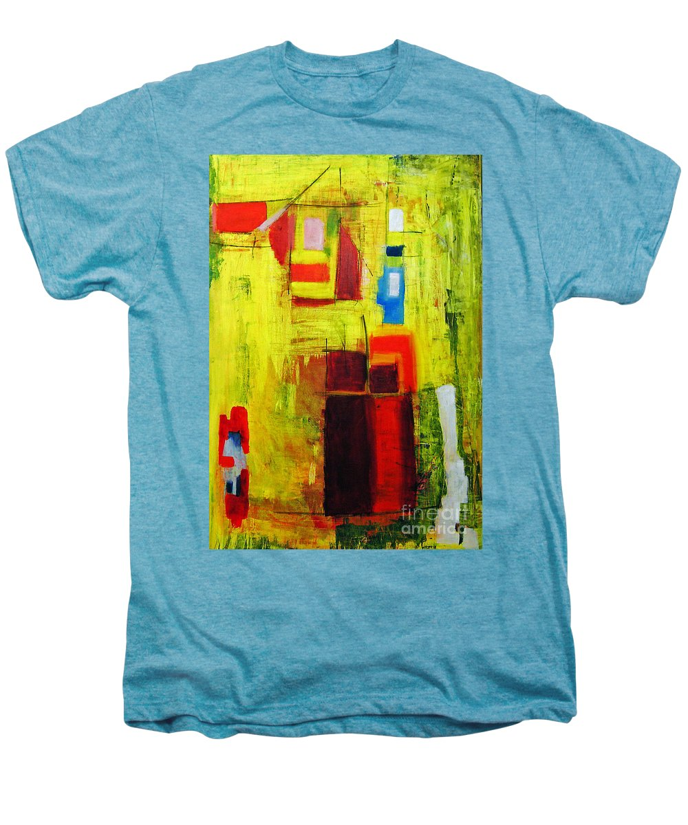 Abstract Painting Men's Premium T-Shirt featuring the painting Yellow by Jeff Barrett