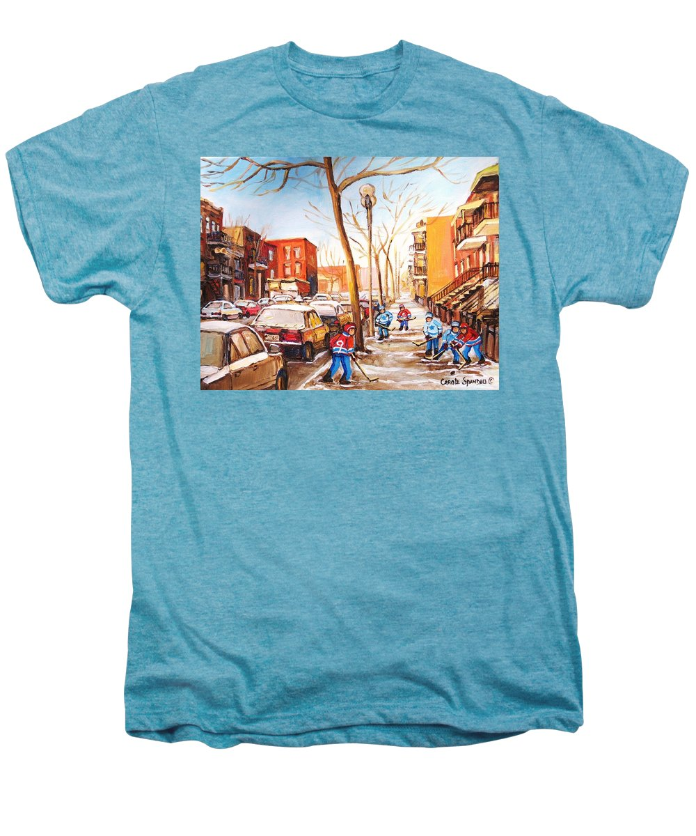 Montreal Street Scene With Boys Playing Hockey Men's Premium T-Shirt featuring the painting Montreal Street With Six Boys Playing Hockey by Carole Spandau