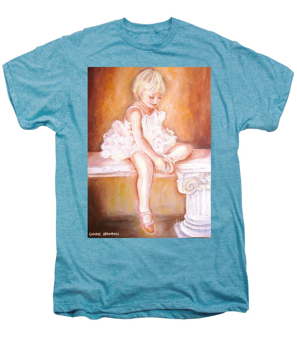 Ballerinas Men's Premium T-Shirt featuring the painting The Little Ballerina by Carole Spandau