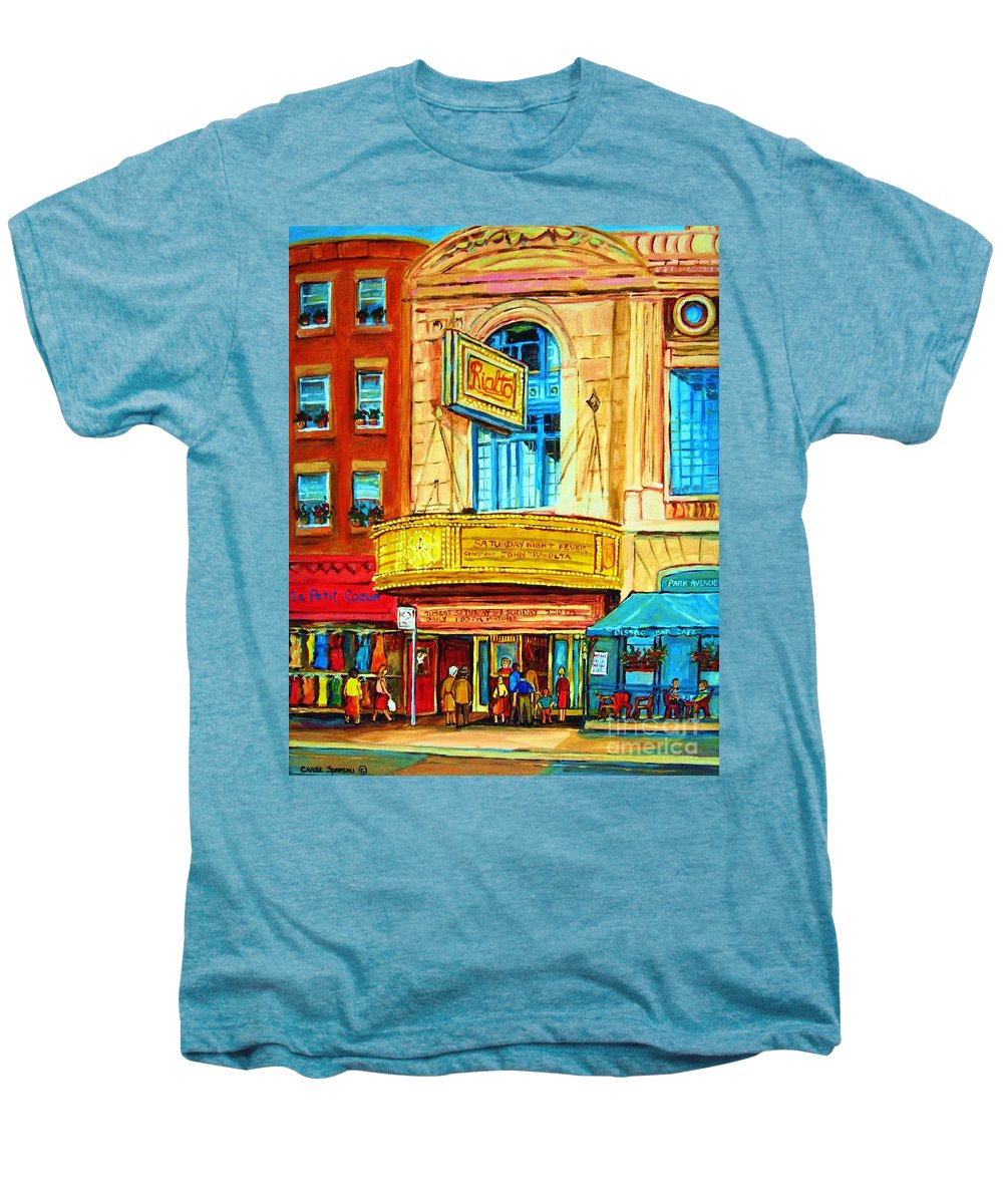 Street Scene Men's Premium T-Shirt featuring the painting The Rialto Theatre by Carole Spandau