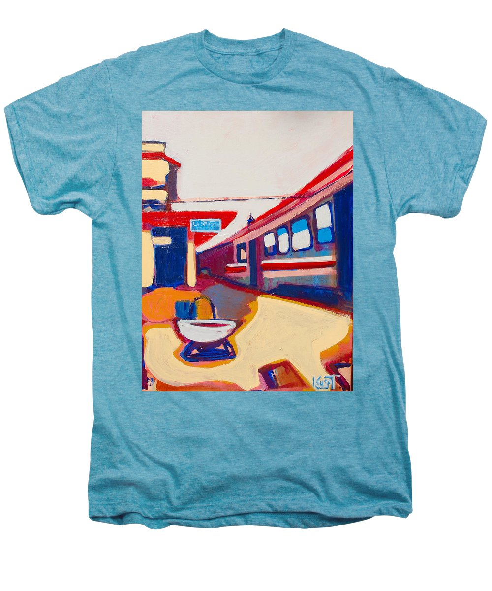 Train Station Men's Premium T-Shirt featuring the painting Locale by Kurt Hausmann