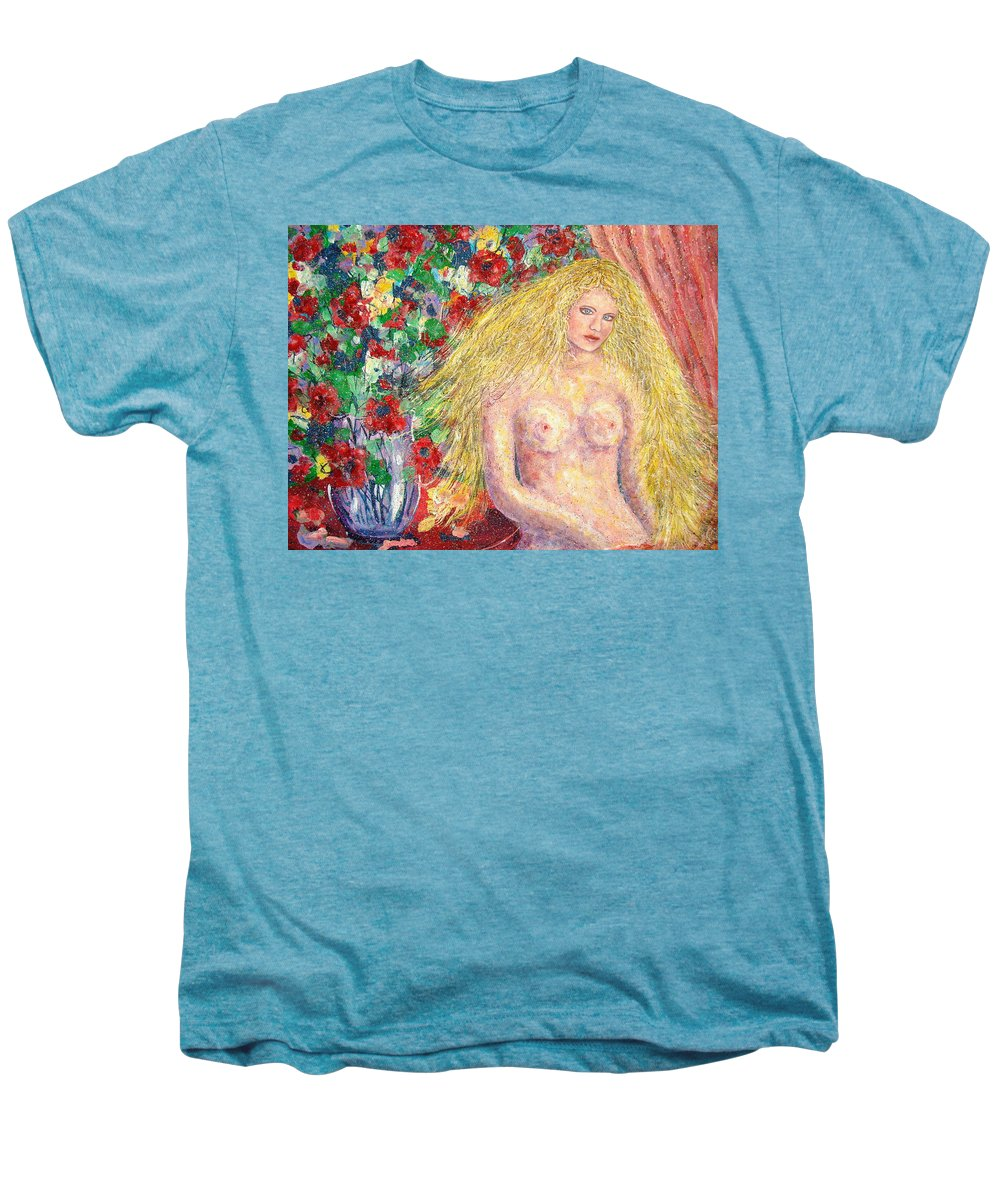 Nude Men's Premium T-Shirt featuring the painting Nude Fantasy by Natalie Holland