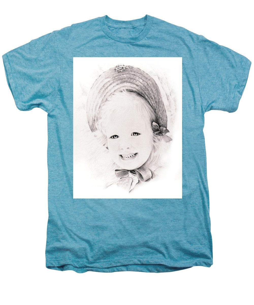 Portrait Men's Premium T-Shirt featuring the drawing  Trudy by Rachel Christine Nowicki