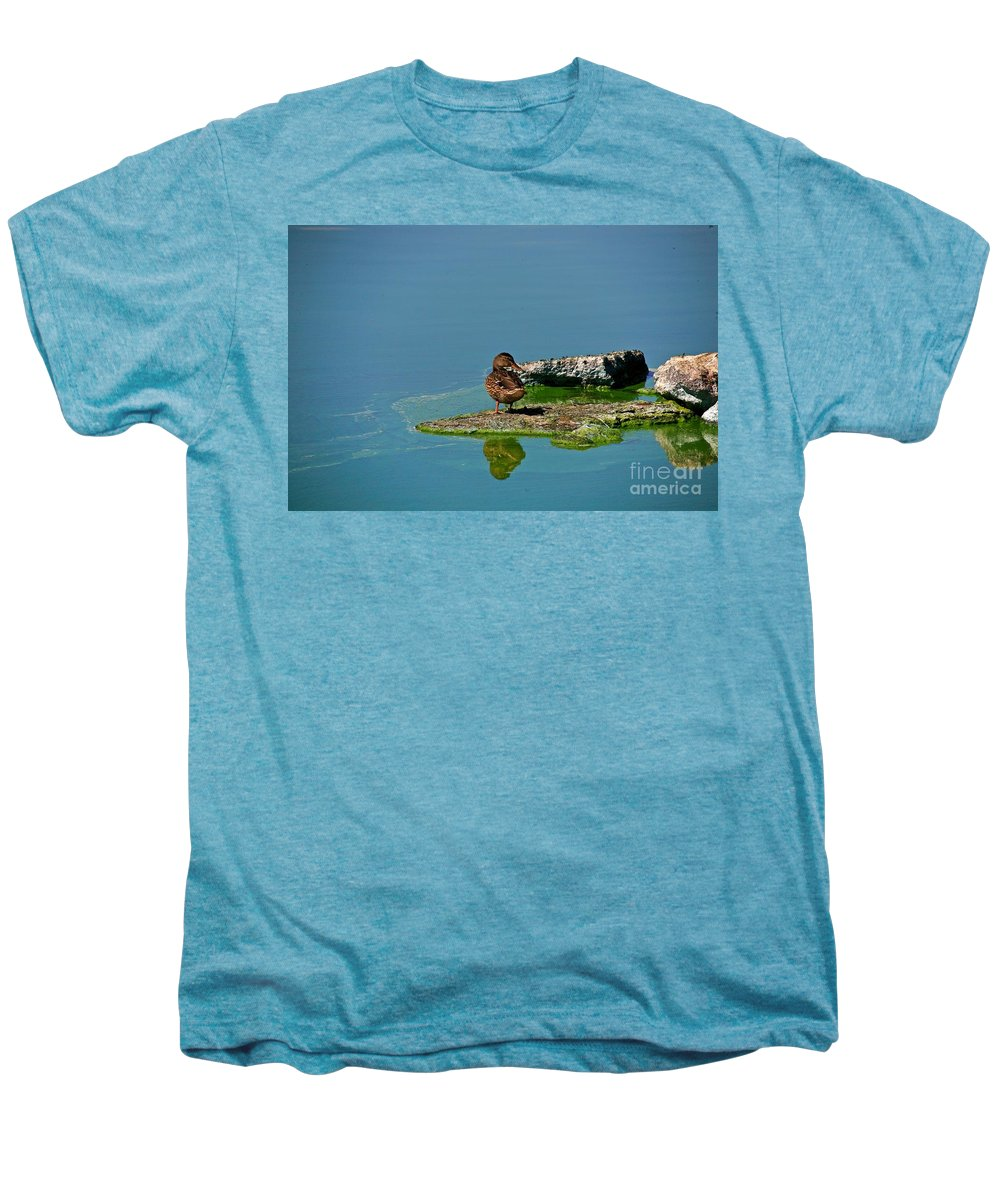 Duck Men's Premium T-Shirt featuring the photograph Alone by Robert Pearson