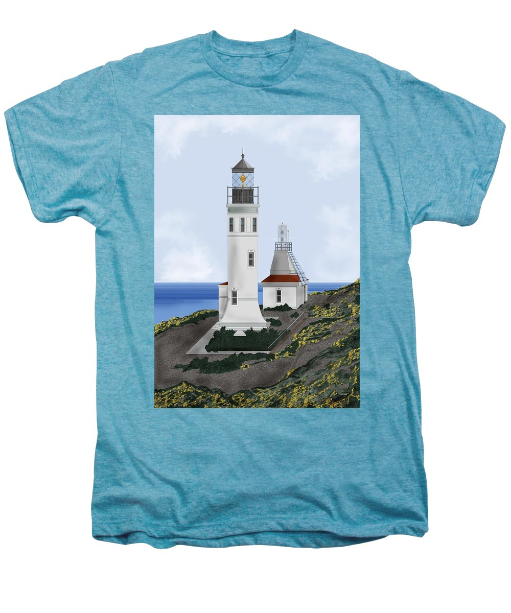 Lighthouse Men's Premium T-Shirt featuring the painting Anacapa Lighthouse California by Anne Norskog