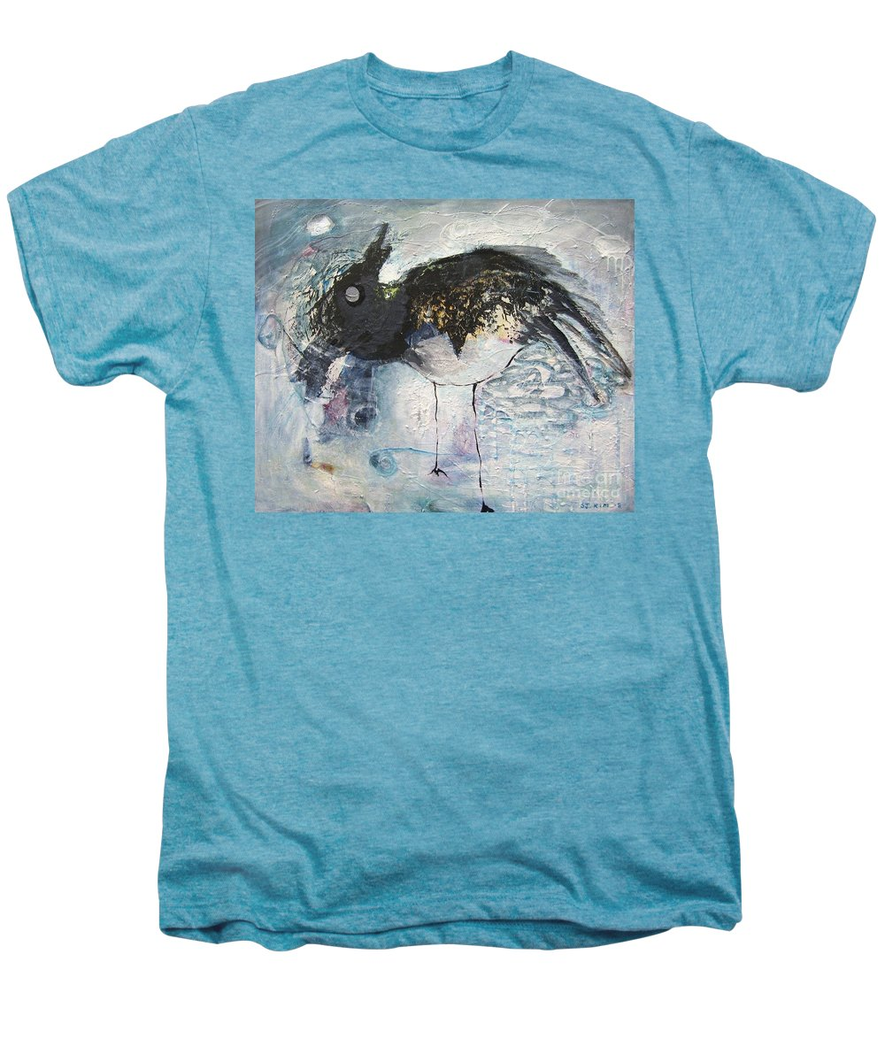 Robin Painting Men's Premium T-Shirt featuring the painting Baby Robin by Seon-Jeong Kim