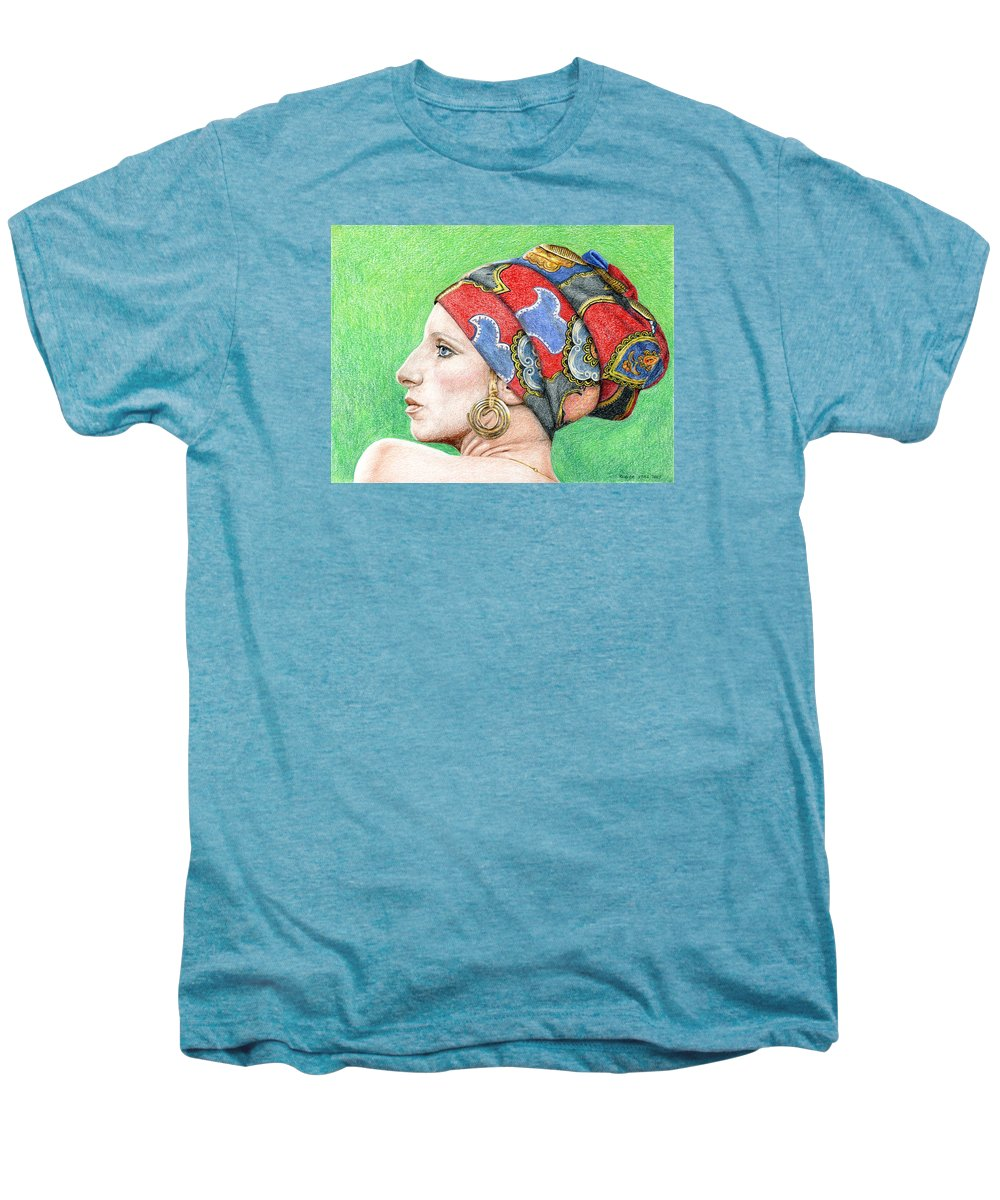 Singer Men's Premium T-Shirt featuring the drawing Barbra Streisand by Rob De Vries