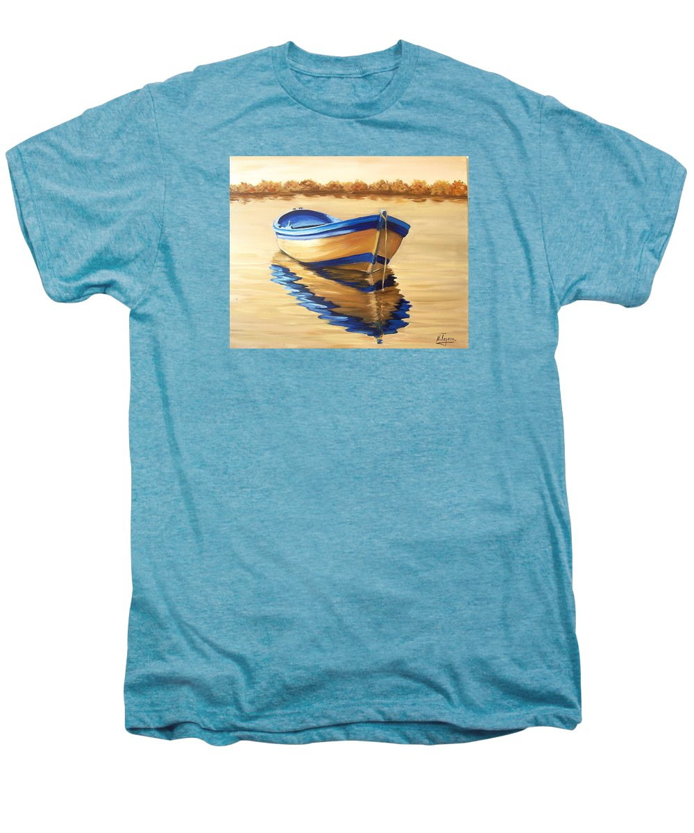 Still Life Men's Premium T-Shirt featuring the painting Lake by Natalia Tejera
