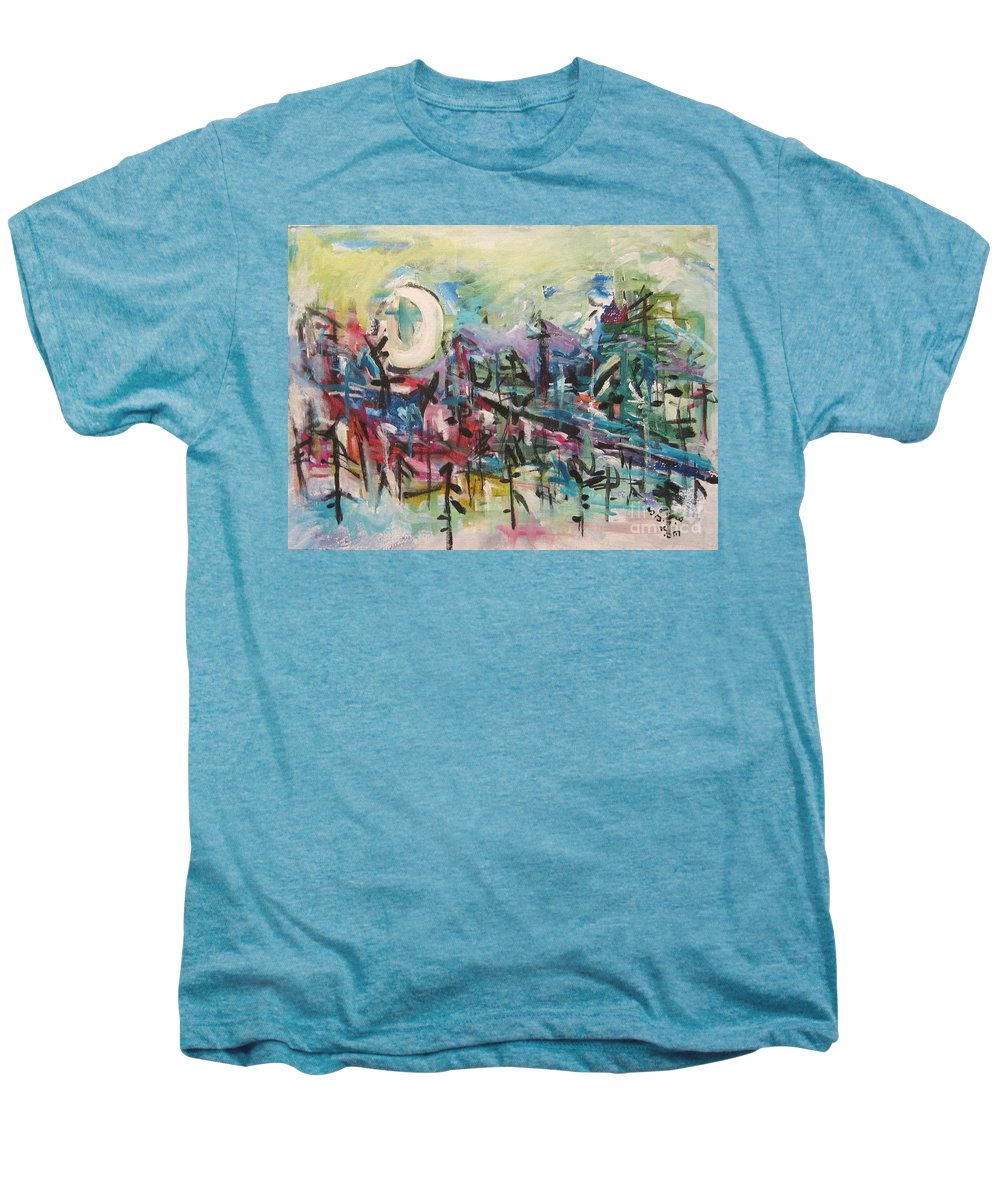 Abstract Paintings Men's Premium T-Shirt featuring the painting Bummer Flat2 by Seon-Jeong Kim
