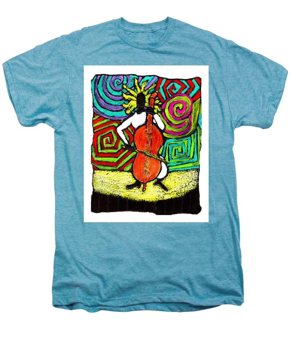 Music Men's Premium T-Shirt featuring the painting Cello Soloist by Wayne Potrafka