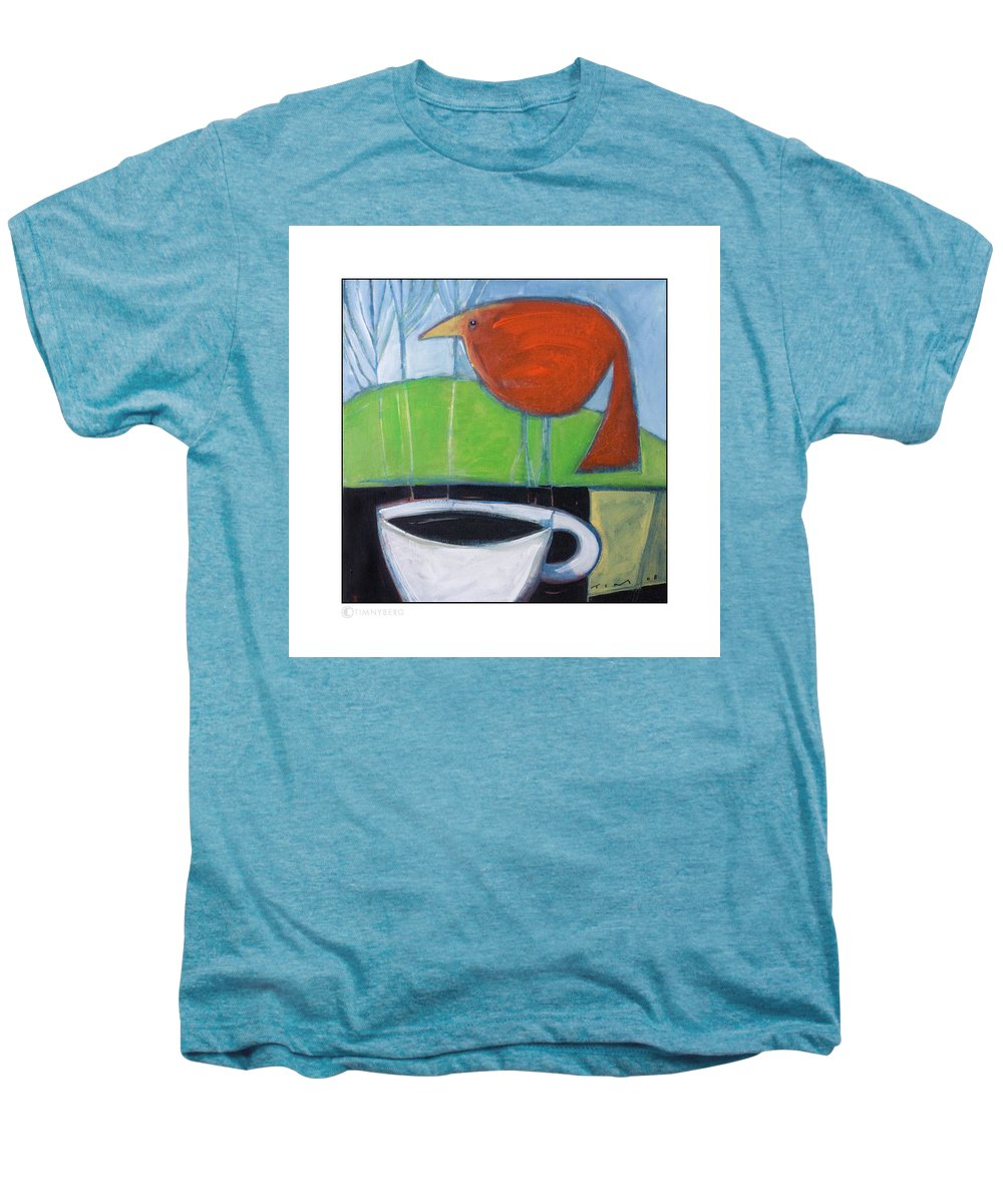 Bird Men's Premium T-Shirt featuring the painting Coffee With Red Bird by Tim Nyberg