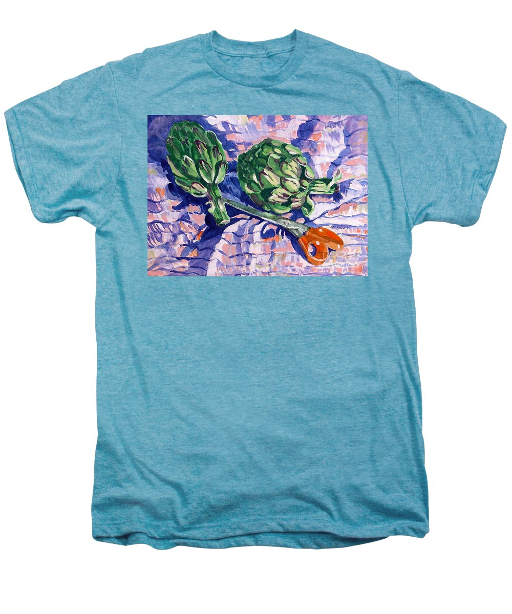 Greens Men's Premium T-Shirt featuring the painting Edible Flowers by Jan Bennicoff
