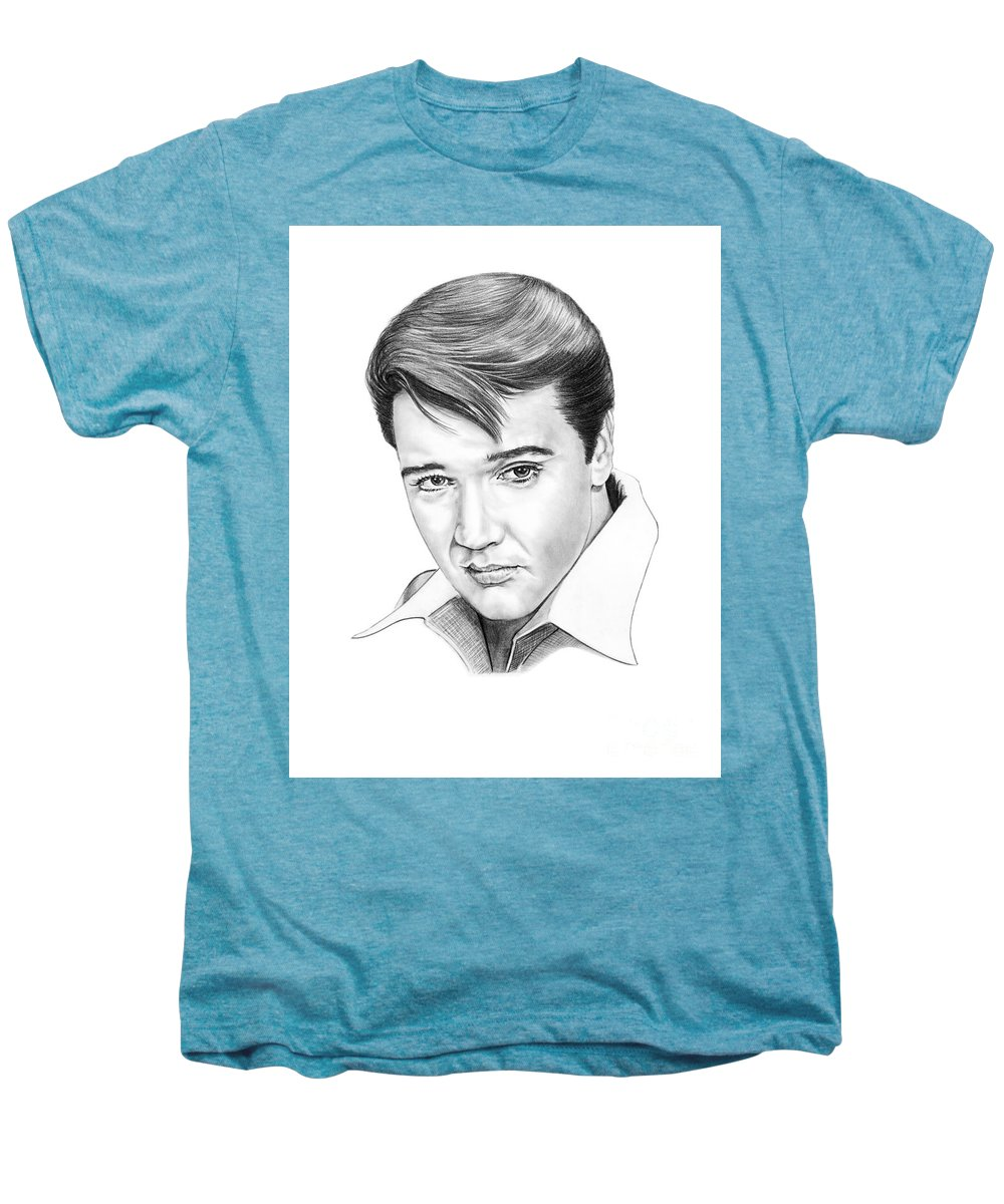 Portrait Men's Premium T-Shirt featuring the drawing Elvis Presley by Murphy Elliott