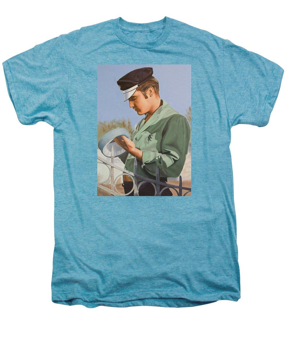 Singer Men's Premium T-Shirt featuring the painting Elvis Presley by Rob De Vries