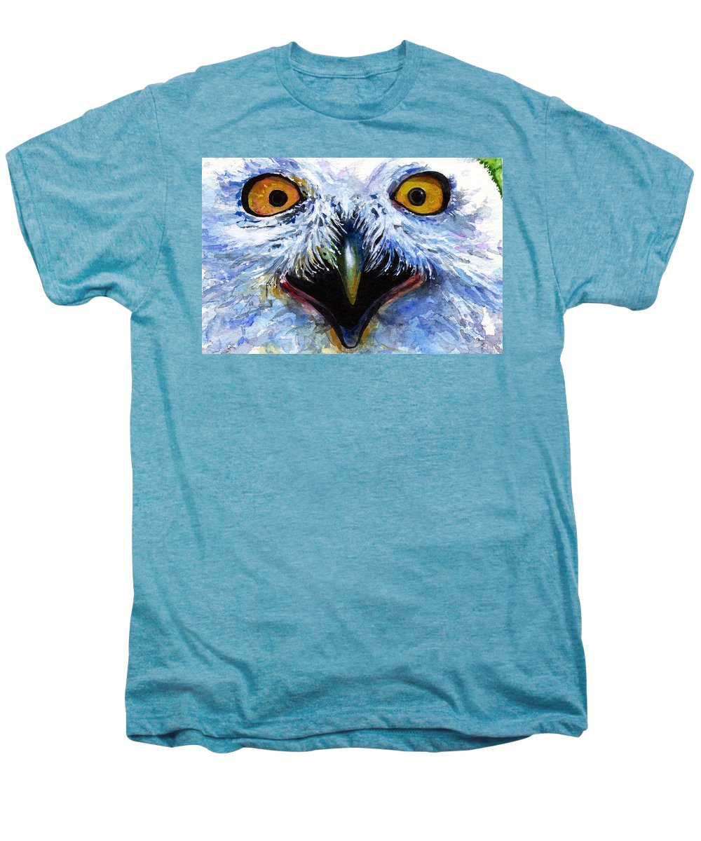Eye Men's Premium T-Shirt featuring the painting Eyes Of Owls No. 15 by John D Benson