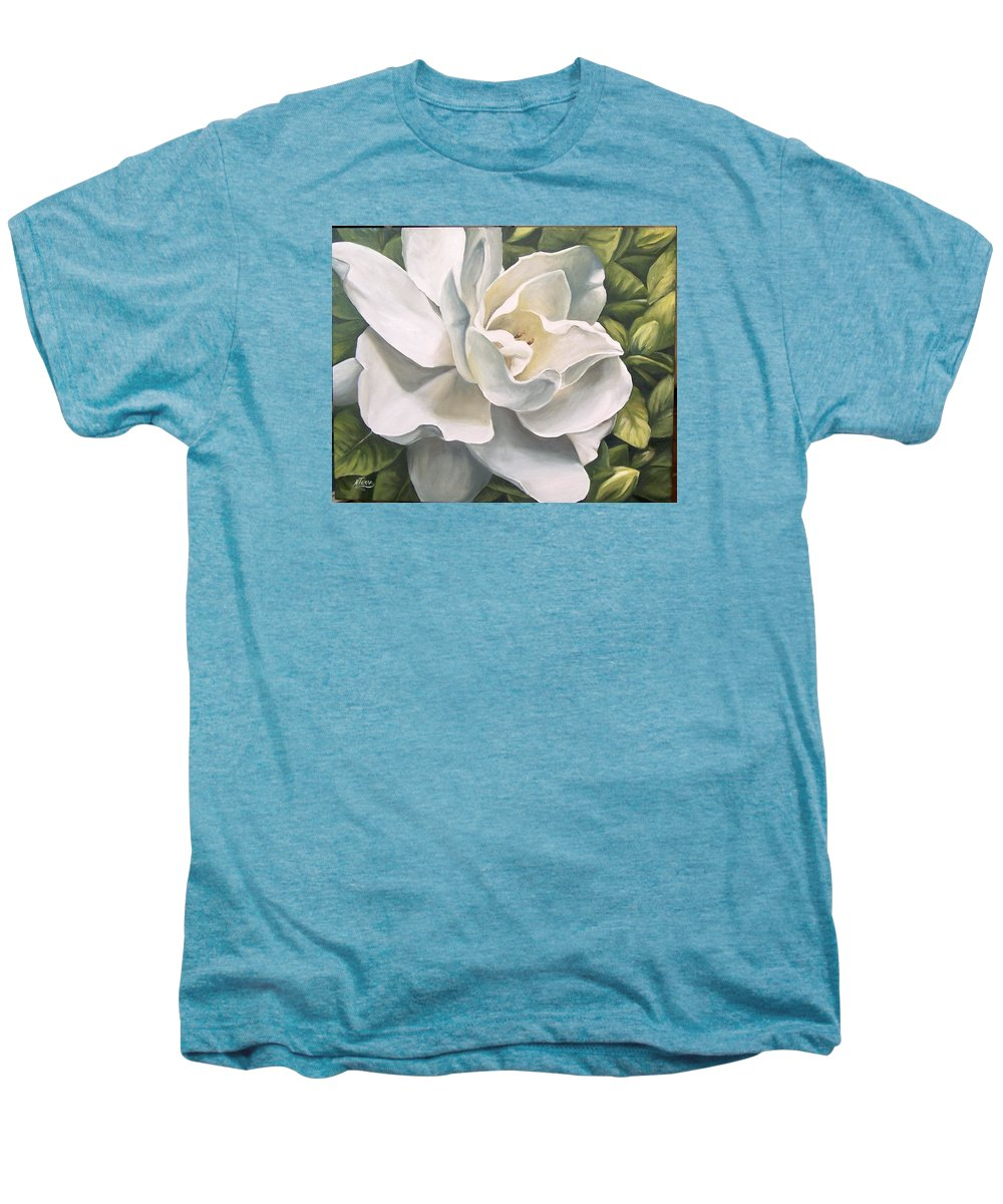 Flower Men's Premium T-Shirt featuring the painting Gardenia by Natalia Tejera