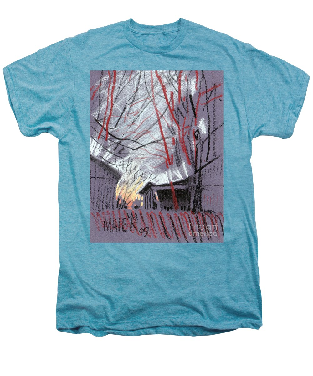Pastel Men's Premium T-Shirt featuring the drawing Grey Evening by Donald Maier