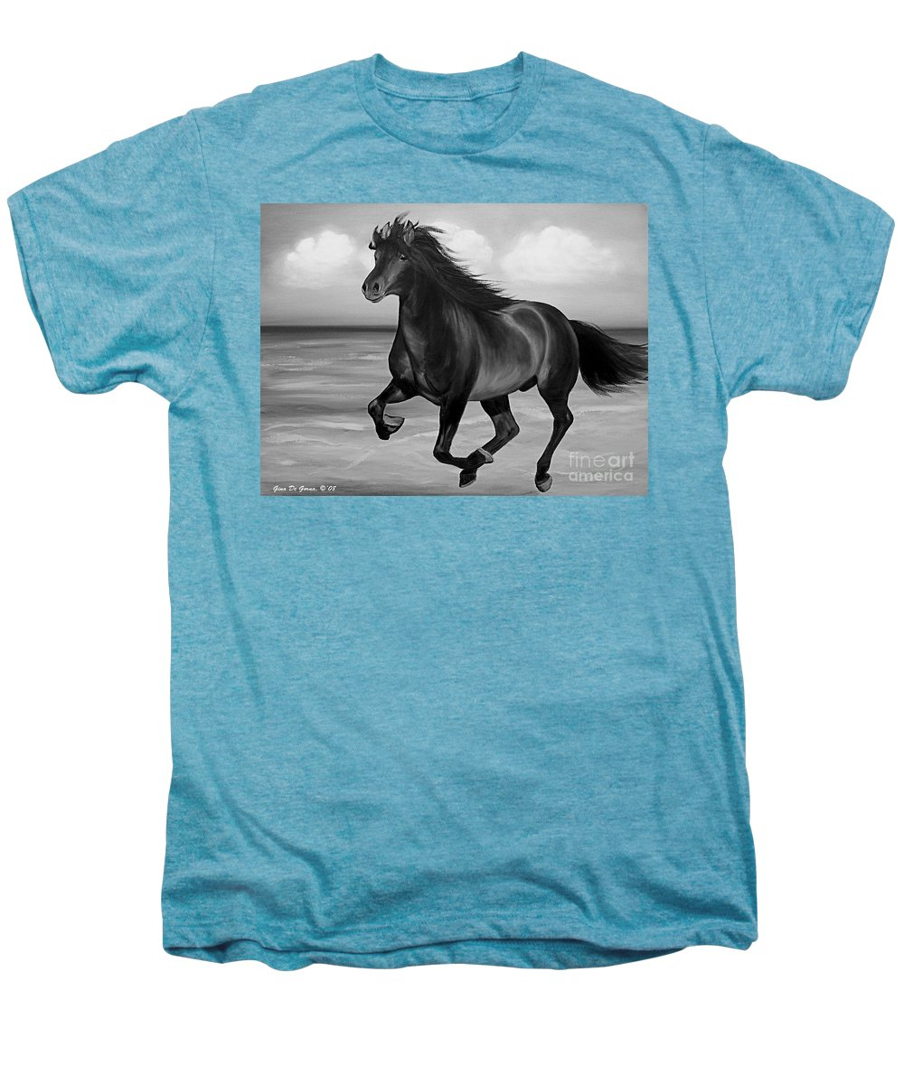Horses Men's Premium T-Shirt featuring the painting Horses In Paradise Run by Gina De Gorna