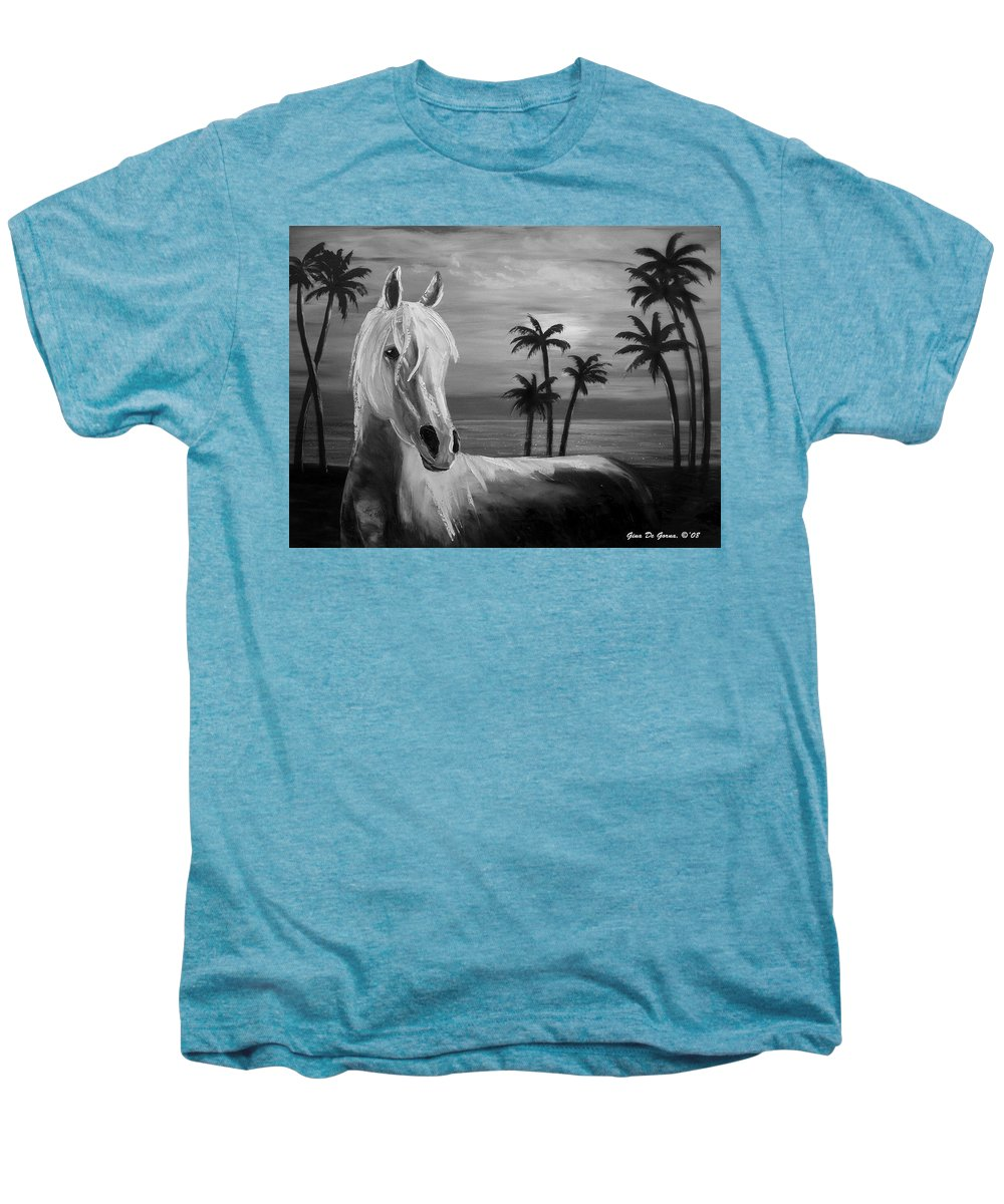 Horses Men's Premium T-Shirt featuring the painting Horses In Paradise Tell Me Your Dream by Gina De Gorna