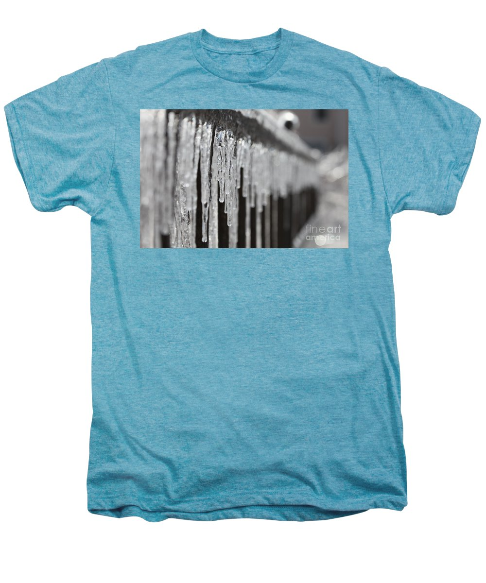 Icicles Men's Premium T-Shirt featuring the photograph Icicles At Attention by Nadine Rippelmeyer