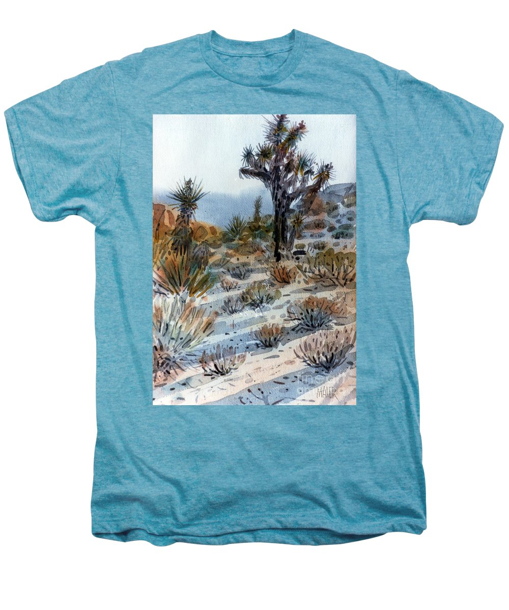 Joshua Tree Men's Premium T-Shirt featuring the painting Joshua Tree by Donald Maier