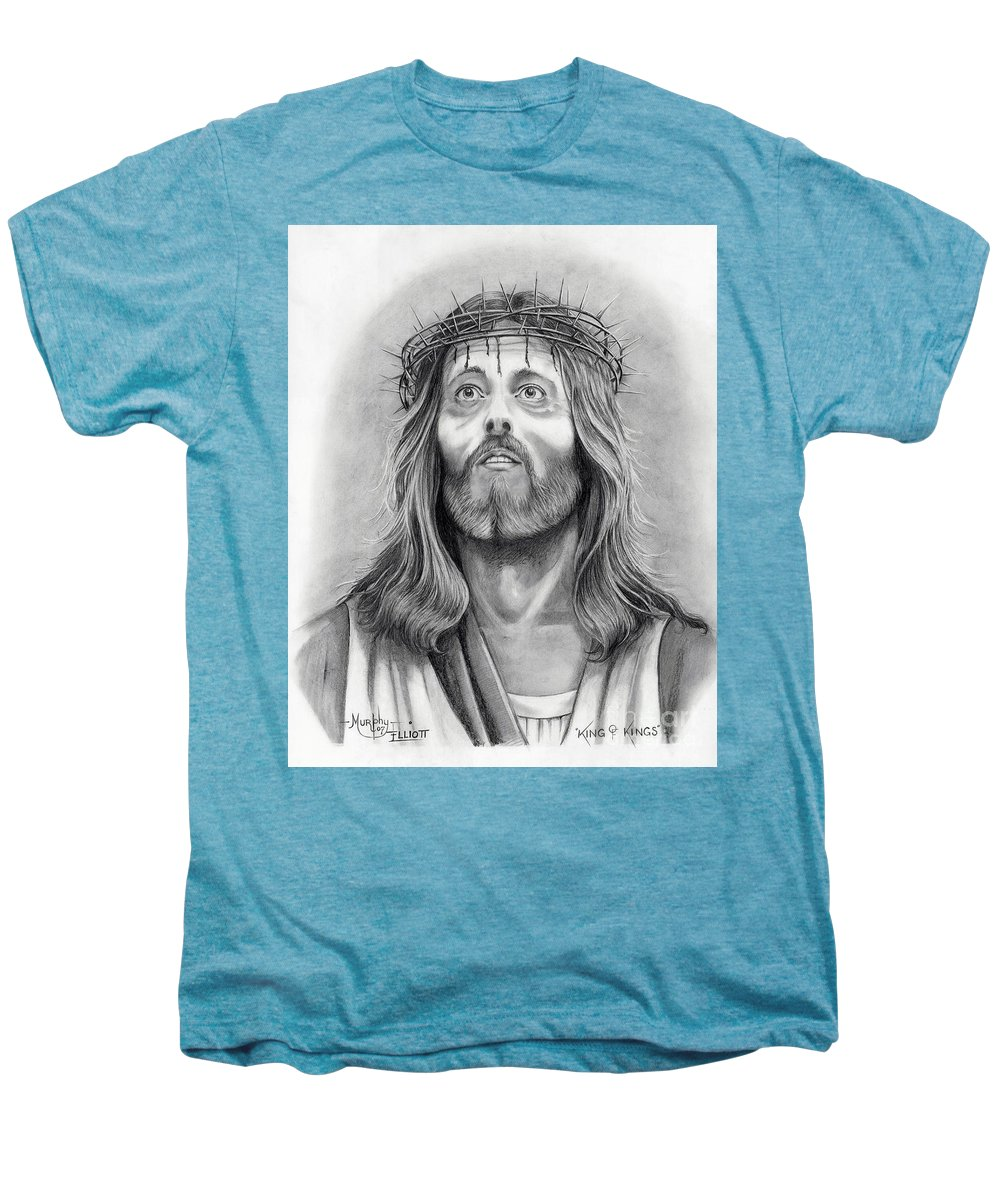 Jesus Christ Men's Premium T-Shirt featuring the drawing King Of Kings by Murphy Elliott