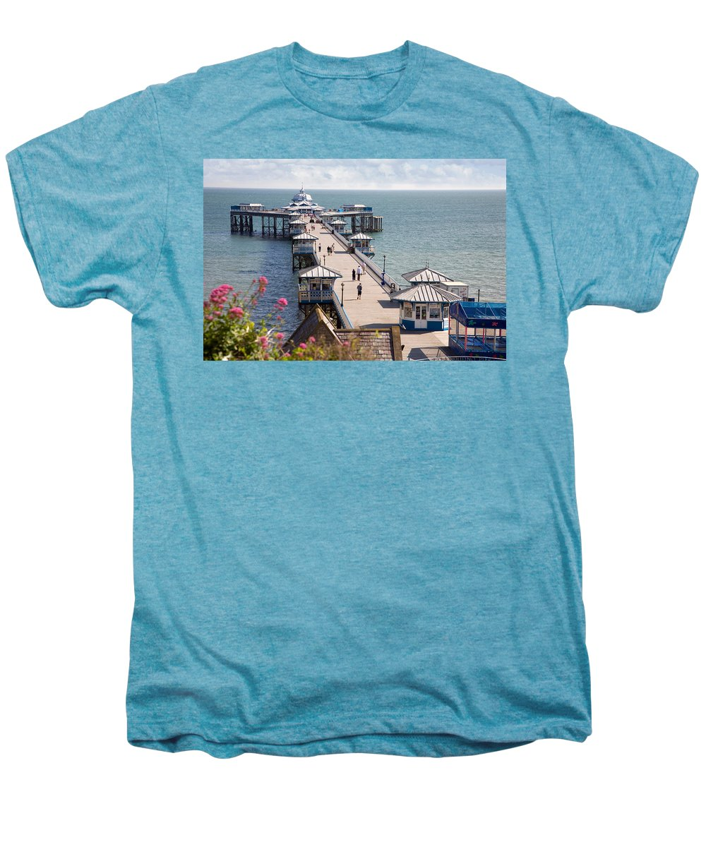Llandudno Men's Premium T-Shirt featuring the photograph Llandudno Pier North Wales Uk by Mal Bray