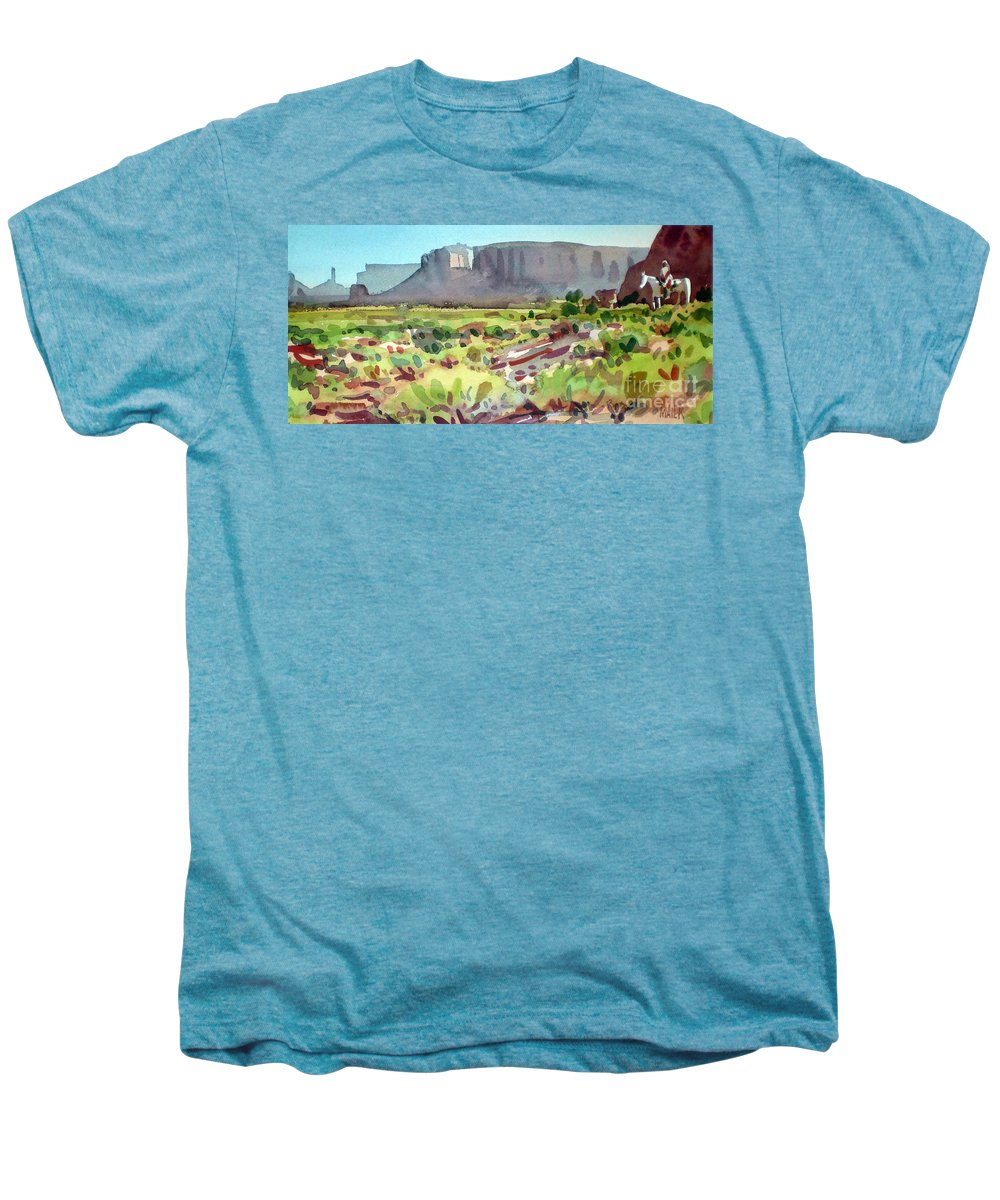 Navajo Men's Premium T-Shirt featuring the painting Lone Rider by Donald Maier