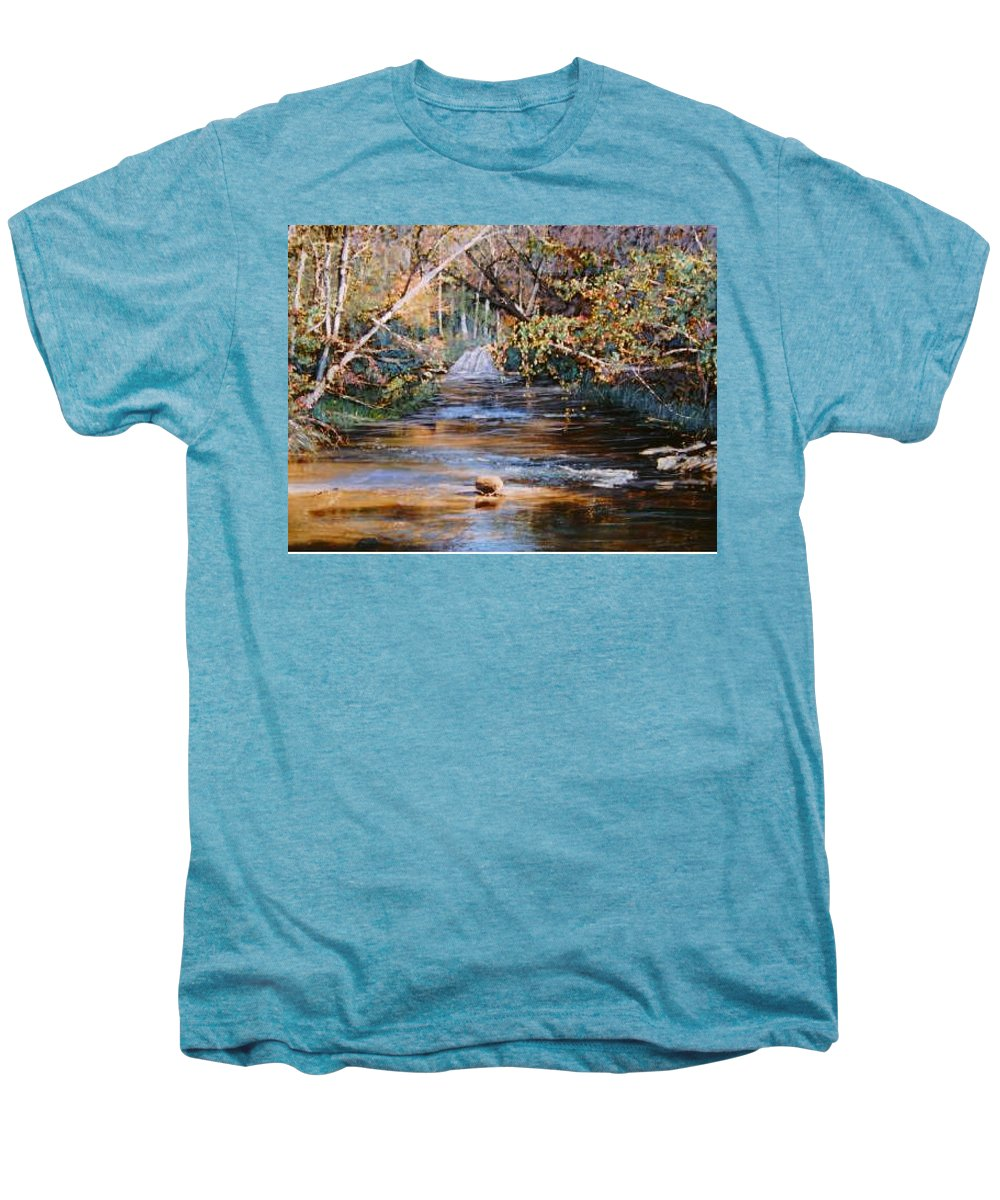 River; Waterfalls Men's Premium T-Shirt featuring the painting My Secret Place by Ben Kiger