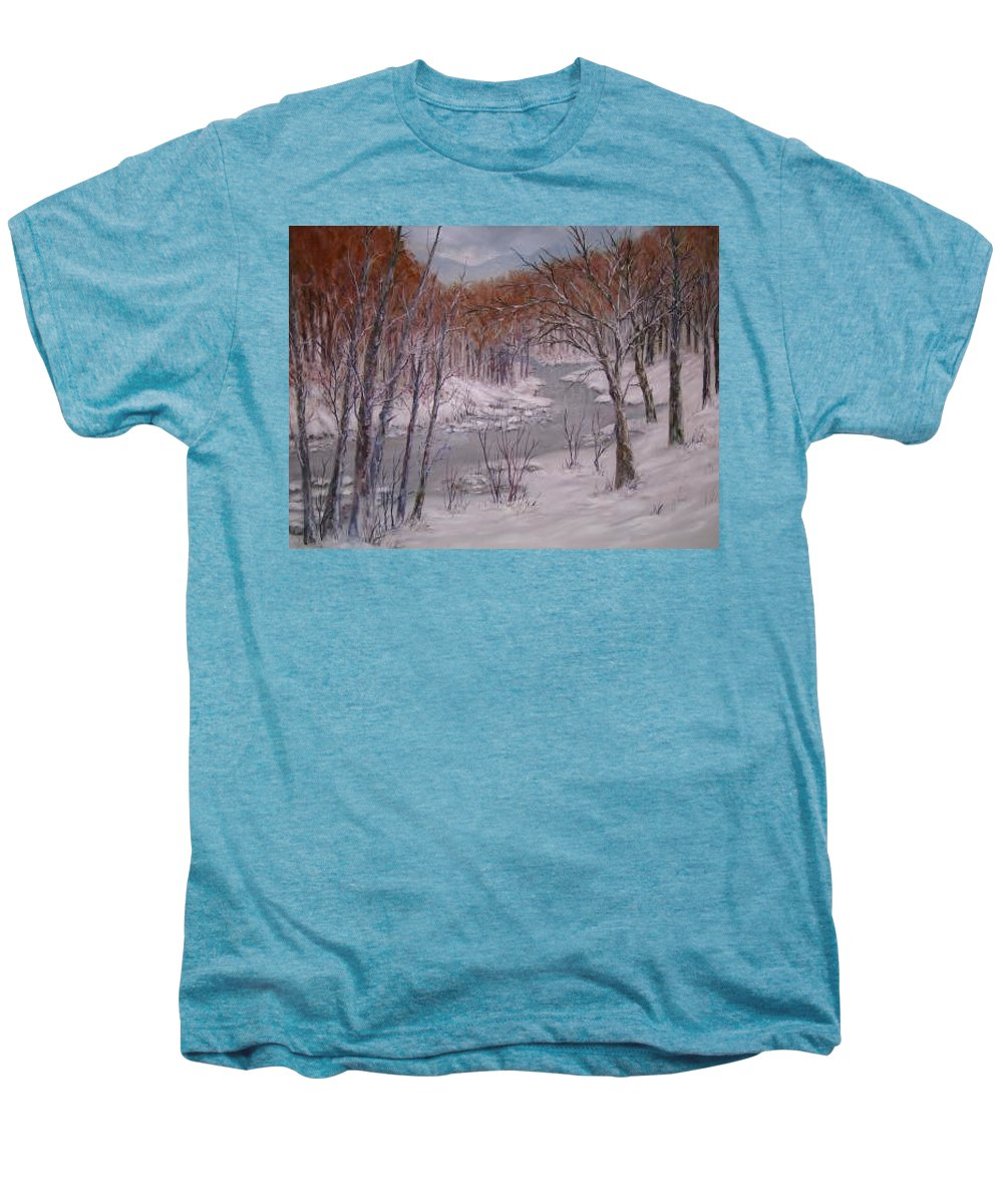 Snow; Landscape Men's Premium T-Shirt featuring the painting Peace And Quiet by Ben Kiger