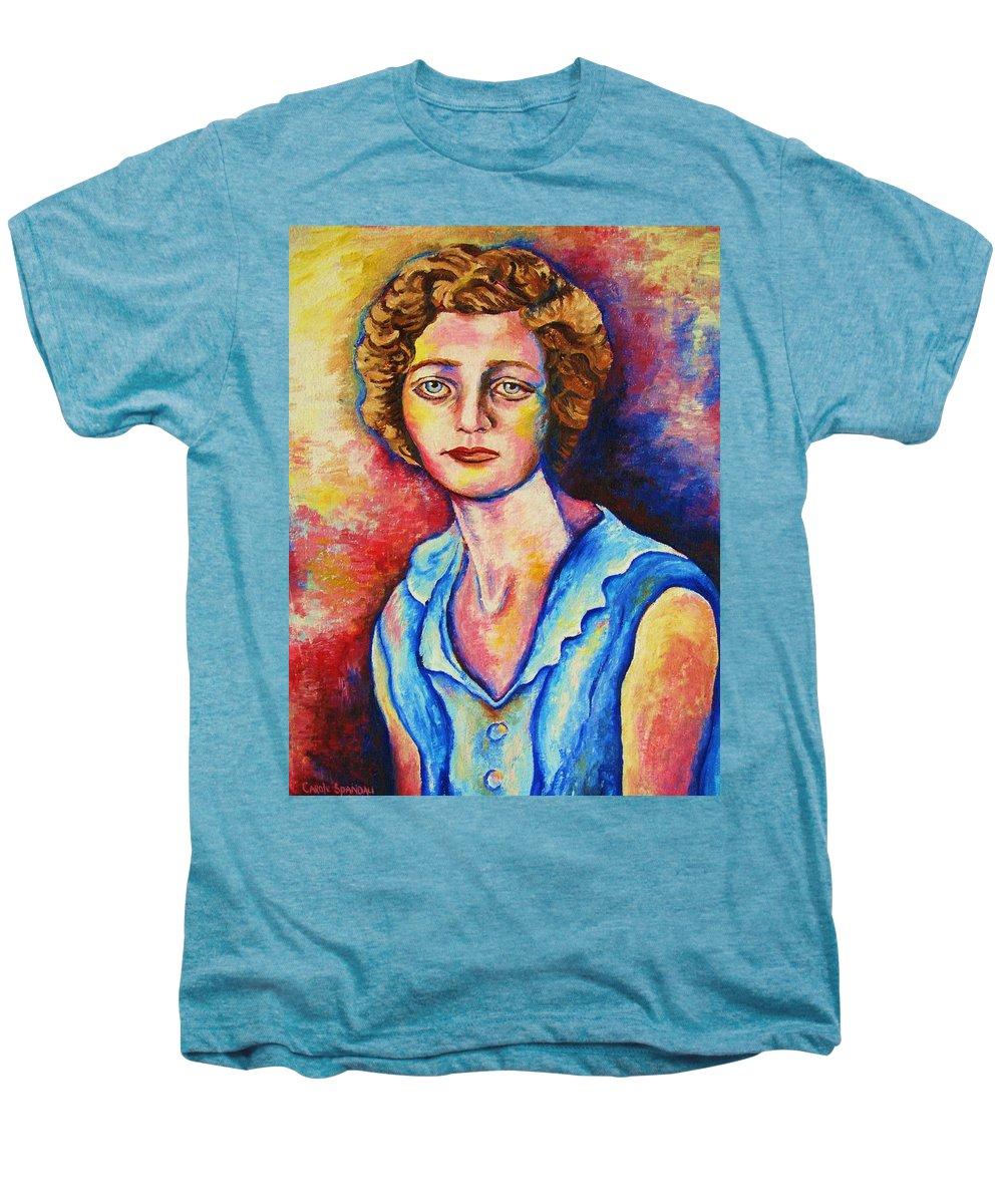 Portraits Men's Premium T-Shirt featuring the painting Sad Eyes by Carole Spandau