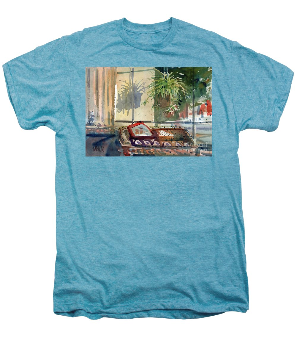 Spider Plant Men's Premium T-Shirt featuring the painting Spider Plant In The Window by Donald Maier